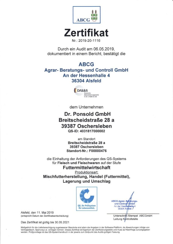Zertifikat 2019-20 1116 ABCG Agra- Beratung- und Controll GmbH